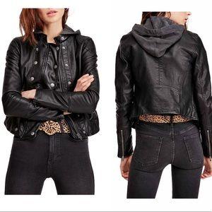 Free People New Dawn Vegan Leather Moto Jacket